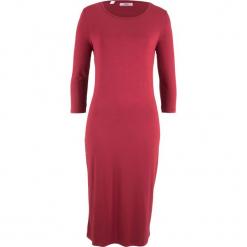 Sukienka z rękawami 3/4 bonprix pomarańczowo-czerwony. Czerwone sukienki z falbanami bonprix. Za 59,99 zł.