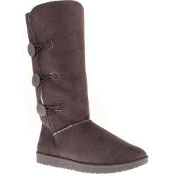 """Kozaki zimowe """"Flora"""" w kolorze antracytowym. Czarne buty zimowe damskie marki Kazar, z futra, przed kolano, na wysokim obcasie, na koturnie. W wyprzedaży za 173,95 zł."""