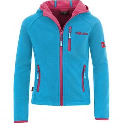 """Kurtka polarowa """"Borgund XT"""" w kolorze turkusowo-różowym. Niebieskie kurtki dziewczęce marki Trollkids, z materiału. W wyprzedaży za 112,95 zł."""