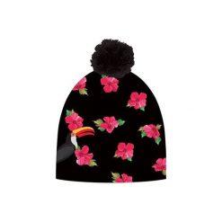 Czapka hauer FLOWERS. Czarne czapki zimowe damskie marki Hauer, z nadrukiem, z polaru. Za 69,00 zł.