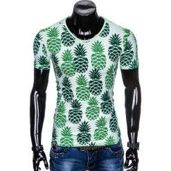 T-shirty męskie: T-SHIRT MĘSKI Z NADRUKIEM S886 - ZIELONY