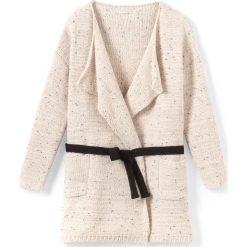 Kardigany damskie: Długi sweter rozpinany z długim rękawem i paskiem