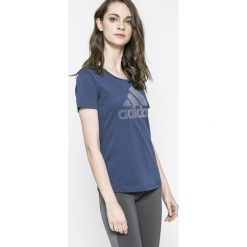 Adidas Performance - Top. Szare topy sportowe damskie adidas Performance, m, z nadrukiem, z bawełny, z okrągłym kołnierzem. W wyprzedaży za 99,90 zł.
