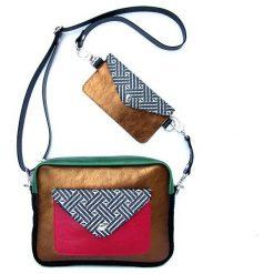 Torebki klasyczne damskie: Torebka Double Bag – miedź, karmin i zieleń