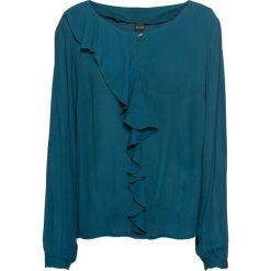 Bluzki damskie: Bluzka z falbaną bonprix niebieskozielony