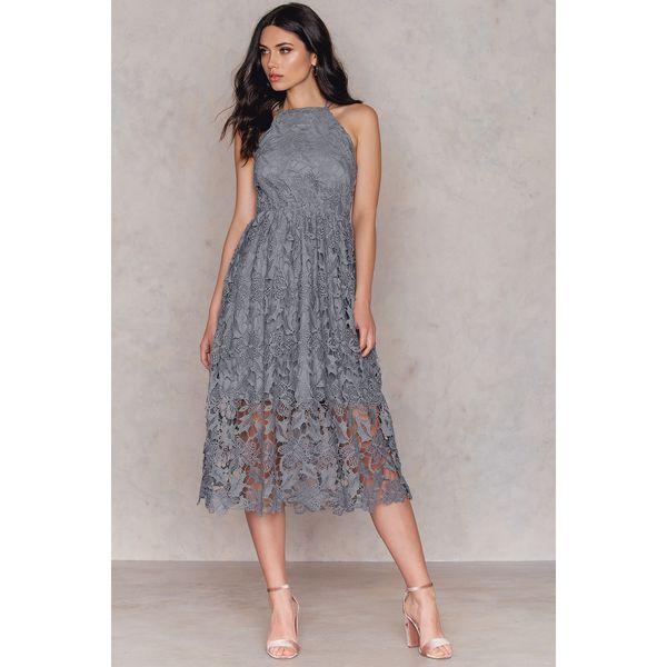 9ba54d5075ca NA-KD Boho Sukienka z ażurową koronką - Grey - Szare sukienki ...