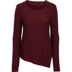 Swetry klasyczne damskie: Sweter dzianinowy z zamkiem bonprix czerwony klonowy