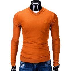 Swetry klasyczne męskie: SWETER MĘSKI E74 – POMARAŃCZOWY