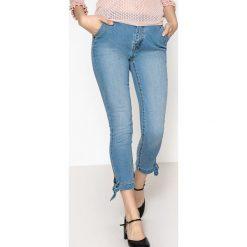 Jeansy skinny z kokardką. Szare jeansy damskie La Redoute Collections, z standardowym stanem. Za 141,08 zł.