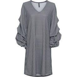 Sukienka w kratę bonprix czarno-biały w kratę. Białe sukienki z falbanami bonprix, z dekoltem w serek. Za 119,99 zł.