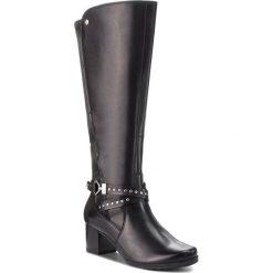 Kozaki CAPRICE - 9-25616-21 Black Comb 019. Czarne buty zimowe damskie Caprice, z materiału, na obcasie. W wyprzedaży za 429,00 zł.