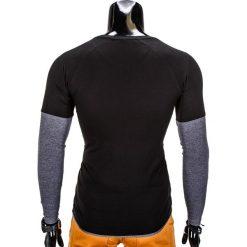 T-shirty męskie: LONGSLEEVE MĘSKI BEZ NADRUKU L65 – CZARNY/GRAFITOWY
