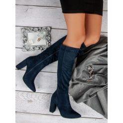ZAMSZOWE KOZAKI NA OBCASIE. Niebieskie buty zimowe damskie SMALL SWAN, z zamszu, na obcasie. Za 179,00 zł.