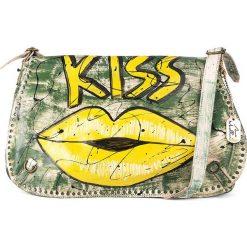 Torebki klasyczne damskie: Skórzana torebka w kolorze zielono-żółtym - 43 x 28 x 6 cm
