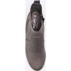 Jana - Botki. Szare buty zimowe damskie Jana, z materiału, z okrągłym noskiem, na koturnie. W wyprzedaży za 119,90 zł.