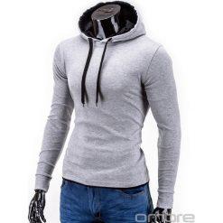 BLUZA MĘSKA Z KAPTUREM CAMILO - SZARA. Szare bluzy męskie rozpinane marki Ombre Clothing, m, z bawełny, z kapturem. Za 49,00 zł.