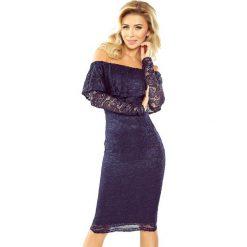 Luisa Sukienka koronkowa - hiszpanka z długim rękawkiem - GRANATOWA. Szare sukienki hiszpanki marki ONLY, s, z bawełny, z okrągłym kołnierzem. Za 229,99 zł.