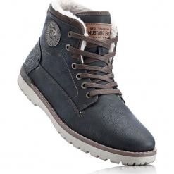 Kozaki sznurowane Mustang bonprix antracytowy. Szare buty zimowe męskie marki bonprix, na zimę, na sznurówki. Za 299,99 zł.