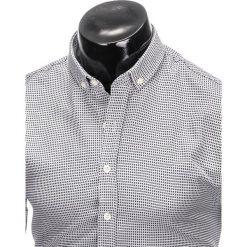 KOSZULA MĘSKA W KRATĘ Z DŁUGIM RĘKAWEM K400 - BIAŁA/CZARNA. Brązowe koszule męskie na spinki marki Ombre Clothing, m, z aplikacjami, z kontrastowym kołnierzykiem, z długim rękawem. Za 49,00 zł.