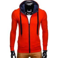 BLUZA MĘSKA ROZPINANA Z KAPTUREM B485 - CZERWONA/GRANATOWA. Czerwone bluzy męskie rozpinane marki Ombre Clothing, m, z bawełny, z kapturem. Za 39,00 zł.