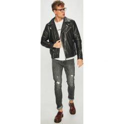Calvin Klein Jeans - Kurtka skórzana. Szare kurtki męskie jeansowe marki Calvin Klein Jeans, l. Za 1899,00 zł.