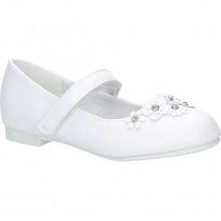 Białe buty komunijne z kwiatkami na rzep American KOM-7/2018. Białe buciki niemowlęce American. Za 59,99 zł.