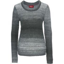 Swetry klasyczne damskie: Sweter, długi rękaw bonprix antracytowo-biel wełny