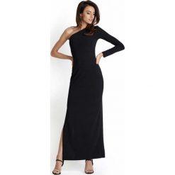 Czarna Wieczorowa Sukienka Maxi na Jedno Ramię. Czarne długie sukienki Molly.pl, na imprezę, l, eleganckie, z długim rękawem, dopasowane. Za 119,90 zł.