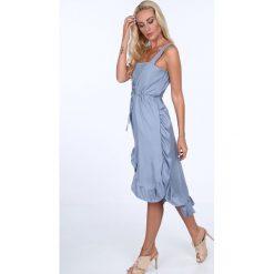 Sukienka z falbanami wiązana niebieska 22369. Niebieskie sukienki Fasardi. Za 69,00 zł.