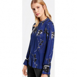 Bluzka z falbankami. Niebieskie bluzki longsleeves marki GERRY WEBER EDITION, s, z falbankami. Za 129,00 zł.