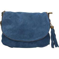 Torebki klasyczne damskie: Skórzana torebka w kolorze niebieskim – 30 x 20 x 3 cm