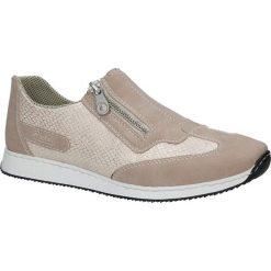 Różowe buty sportowe z ozdobnym suwakiem Rieker 56060-31. Czarne buty sportowe damskie marki Rieker, z materiału. Za 238,99 zł.