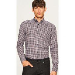 Koszula w kratkę slim fit - Szary. Szare koszule męskie slim marki Reserved, m, w kratkę. Za 99,99 zł.