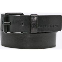 Calvin Klein Jeans - Pasek skórzany. Czarne paski męskie Calvin Klein Jeans, w paski, z jeansu. W wyprzedaży za 159,90 zł.