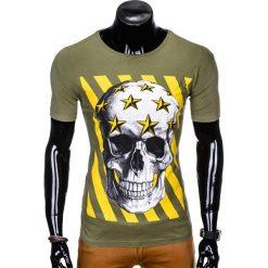 T-SHIRT MĘSKI Z NADRUKIEM S980 - KHAKI. Zielone t-shirty męskie z nadrukiem marki Ombre Clothing, na zimę, m, z bawełny, z kapturem. Za 29,00 zł.