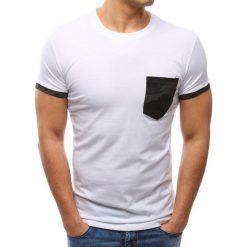 T-shirty męskie: T-shirt męski z kieszonką biały (rx2704)