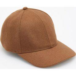 Czapka z daszkiem z wełną - Brązowy. Brązowe czapki z daszkiem męskie marki Reserved, z wełny. Za 49,99 zł.