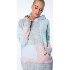 Swetry klasyczne damskie: Sweter kolorowy z kapturem / mięta MISC002