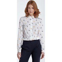 Bluzki damskie: Bluzka Koszulowa z Okrągłym Kołnierzykiem – Gałązka