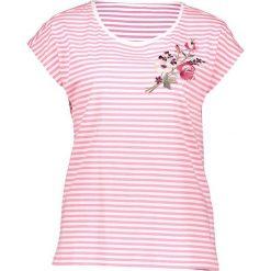 Koszulka w kolorze biało-łososiowym. Białe bluzki damskie Taifun, z haftami, z bawełny, z okrągłym kołnierzem, z krótkim rękawem. W wyprzedaży za 65,95 zł.