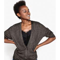 Swetry rozpinane damskie: Sweter z wełny z metaliczną nitką