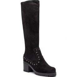 Kozaki UNISA - Grazia St Black. Czarne buty zimowe damskie Unisa, z materiału, przed kolano, na wysokim obcasie, na obcasie. Za 569,00 zł.