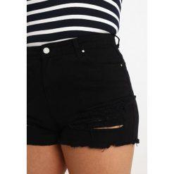 Bermudy damskie: Missguided Plus HIGH WAISTED SHREDDED Szorty jeansowe black