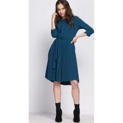Sukienki: Miętowa Sukienka Pleated Belted
