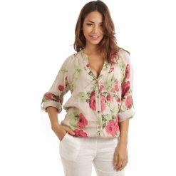 Bluzki damskie: Lniana bluzka w kolorze beżowo-czerwono-zielonym