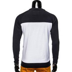 BLUZA MĘSKA BEZ KAPTURA Z NADRUKIEM B688 - GRANATOWA/BIAŁA. Białe bluzy męskie rozpinane Ombre Clothing, m, z nadrukiem, z bawełny, bez kaptura. Za 39,00 zł.