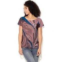 Colour Pleasure Koszulka damska CP-034  283  niebiesko-brązowo-różowa r. XS-S. Brązowe bluzki damskie Colour pleasure, s. Za 70,35 zł.