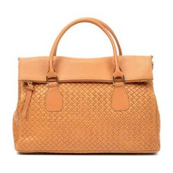 Torebki i plecaki damskie: Skórzana torebka w kolorze jasnobrązowym – (S)29 x (W)38 x (G)14 cm