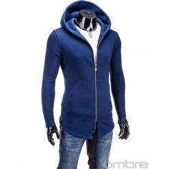 BLUZA MĘSKA ROZPINANA Z KAPTUREM B326 - GRANATOWA. Czarne bluzy męskie rozpinane marki Ombre Clothing, m, z bawełny, z kapturem. Za 75,00 zł.