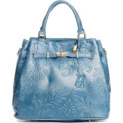 Torebki klasyczne damskie: Skórzana torebka w kolorze niebieskim – 40 x 21 x 31 cm